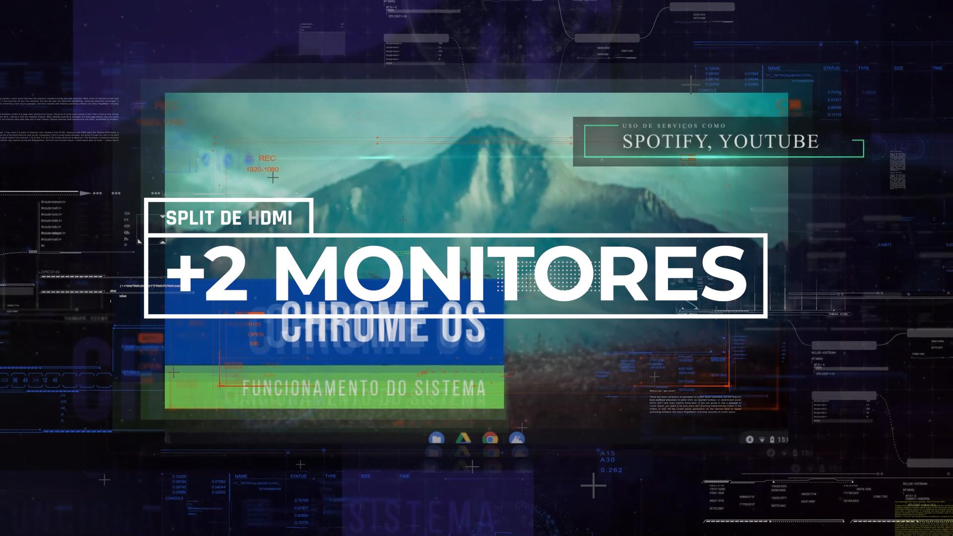 Mais de dois monitores no Chromebook usando um splitter
